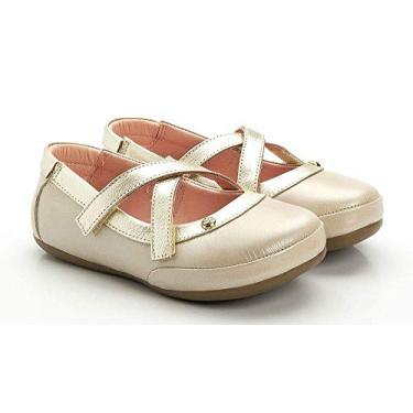 Sapatilha Boneca Gambo Transpassada Glitter Creme Ouro Light Tamanho do calçado:25
