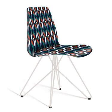 9a6c635f5 Cadeira de Jantar Eames Butterfly Branca e Azul Estampada