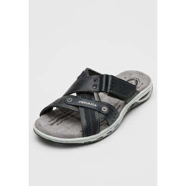 Sandália Pegada Tiras Velcro Preta/Cinza Pegada 131601-05 masculino
