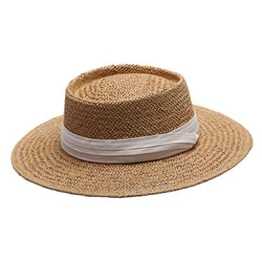 homozy Chapéu Panamá de Palha Elegante para Mulheres Chapéu de Sol Balde Dobrável Chapéu - Branco