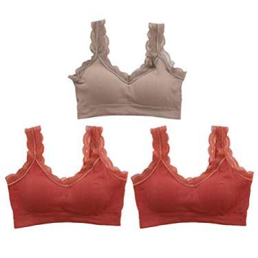 PRETYZOOM 2 peças de sutiã esportivo de renda para ioga confortável sutiã esportivo sem costura roupa íntima para mulheres meninas (marrom, cáqui) top feminino tubo