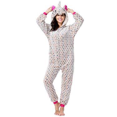 Pijama Capuz Pelúcia Macacão Kigurumi Cosplay Unicórnio Estrelinha Bege (P (1,49-1,58 cm))