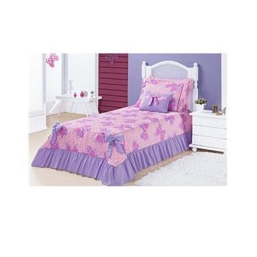 68297da1d2 Colcha Laila Cobre Leito para cama Solteiro 4 peças Estampado Borboleta -  Lilás