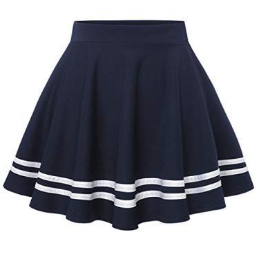 Wedtrend Saia feminina básica versátil elástica evasê rodada casual mini saia patinadora, A - azul-marinho, XL