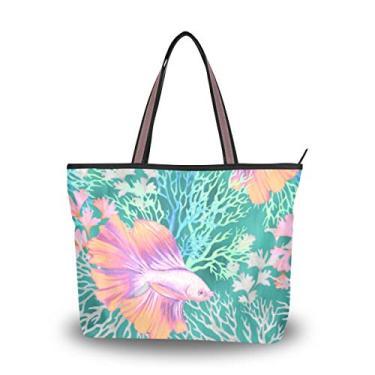 Bolsa de ombro com estampa de corais e peixes, bolsa de ombro para mulheres e meninas, Multicolorido., Large