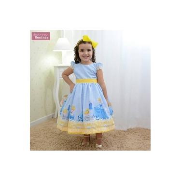 Vestido festa infantil da Cinderela azul com detalhes amarelo