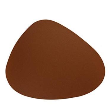 angwang Jogo americano americano americano de couro de poliuretano, isolamento térmico, antiderrapante, tigela, descanso, cozinha, marrom