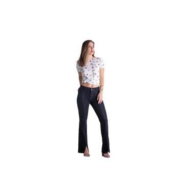 Calça Pó Do Pano Flare Friso Jeans Feminina