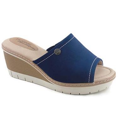 Sandália Feminina Salto Anabela Tamanco Plataforma Modare Ultraconforto na cor Marinho Tamanho:34;Cor:Azul Marinho