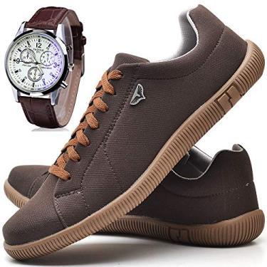 Kit Sapatênis Sapato Casual Masculino Com Relógio JUILLI 920DB Tamanho:43;cor:Marrom;gênero:Masculino