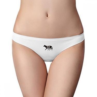 Imagem de Cueca de animal lobo, preta e branca, calcinha fio dental respirável e macia, Branco, L