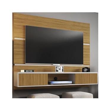 Painel Para Tv Até 60 Polegadas 2 Portas Basculantes âmbar Cinamomo/off White/ripado
