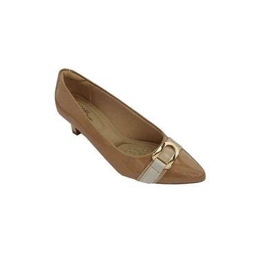 Sapato Scarpin Modare Ultra Conforto Verniz Premium Nude, Verniz Premium Bege/ Napa Sense Branco Off - 7314104