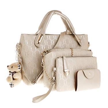 Imagem de 4MEIYIN peças/conjunto feminino de couro grande, bolsa de mão, bolsa de ombro, conjunto de sacola, bolsa mensageiro, Dourado, Medium