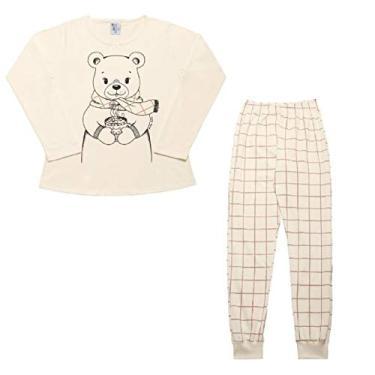 Pijama Feminino Infantil Pulla Bulla Ref. 42702 Cor:Creme;Tamanho:8