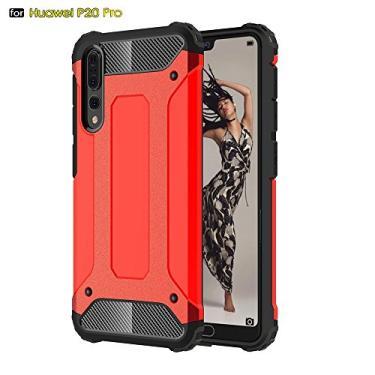 Capa híbrida para Huawei P20 Pro, camada dupla, resistente, à prova de choque, policarbonato e TPU + 1 película protetora de tela 9H, vidro temperado, película HD transparente, vermelha