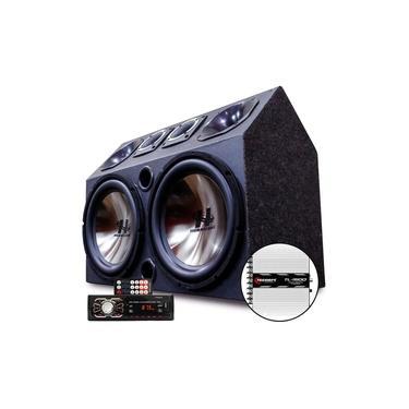 Caixa Trio Som Carro Radio Bluetooth Usb + Modulo Taramps