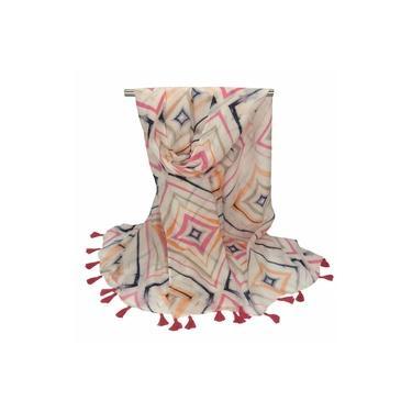 Lenço Feminino / Echarpe Losangos Coloridos Rosa