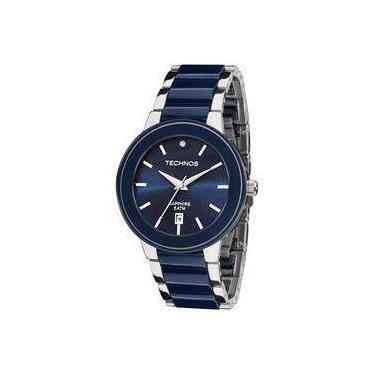 2c8e39487666d Relógio Feminino Technos Ceramic 2115KRT 1A Pulseira Aço Prata Ceramica Azul