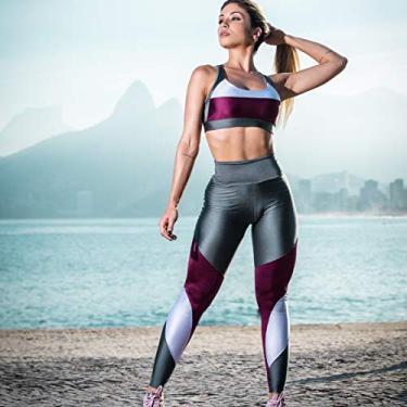Calça Legging Dily Metalic Com Malbec Tamanho:G;Gênero:Mulher;Cor:Cinza+Roxo