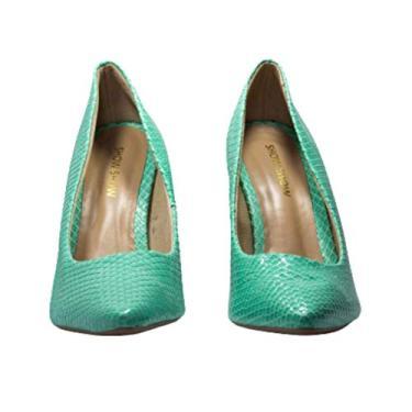 Scarpin Croco Light Green Tamanho:37;Cor:Verde-claro