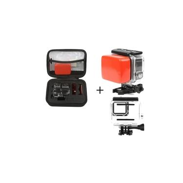 Kit Gopro Hero 5 6 7 Black Estanque Case Boia Com Adesivo 3M
