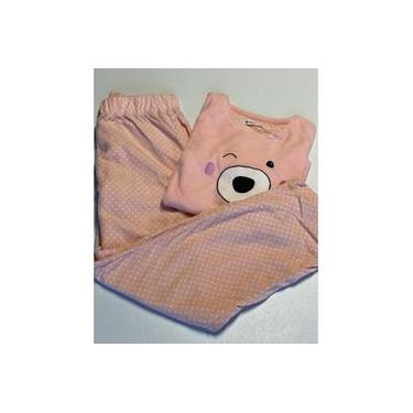Pijama Feminino Longo Fleece Quentinho Macio Confort Rosa