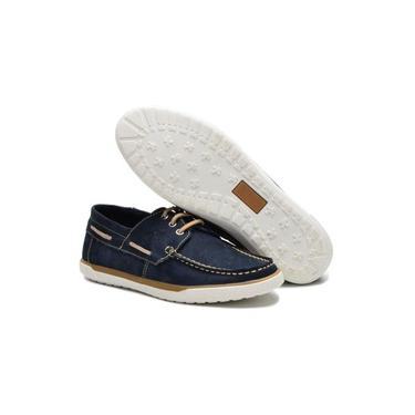 Sapato Masculino Mocassim Drive Casual Dockside em Couro Legítimo Azul Marinho