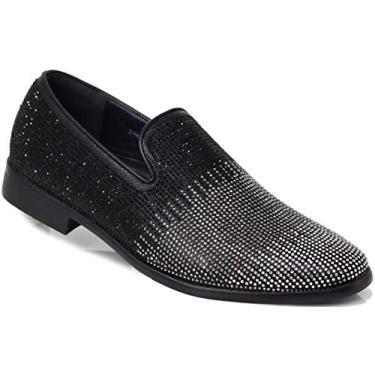 ARK1 Mocassim masculino vintage acetinado sedoso floral fashion sem cadarço smoking formal social sapato designer, Black (29), 8