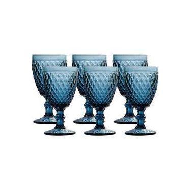 Jogo 6 TaÇAs Para ÁGua Em Vidro Bico De Abacaxi Azul 260ML - Lyor