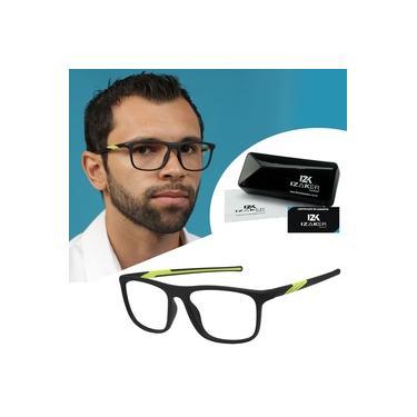 Imagem de Armação Óculos De Grau Masculino Izaker Esportivo Grande Preto/Verde 1032
