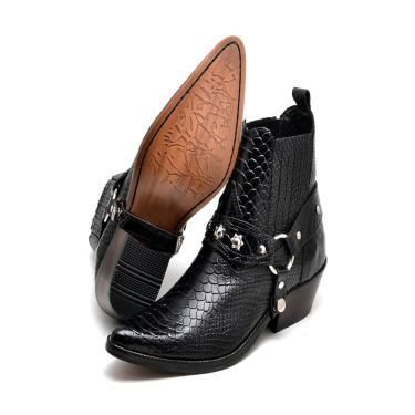 Bota Click Calçados Botina Country Bico Fino Cano Curto Em Couro Preto  masculino