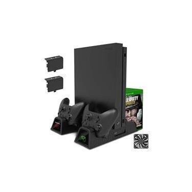 Cooler base Xbox One S X carregador controle 2 baterias