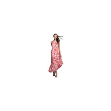 Vestido feminino MDL-1609 com impressão de fita adesiva vestidos sem mangas com gola redonda estilo longo