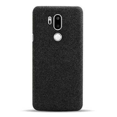 Hicaseer Capa para LG G7 ThinQ, capa traseira de policarbonato rígido de poliuretano, capa de celular para smartphone em tela à prova de choque para LG G7 ThinQ 6,1 polegadas - preta