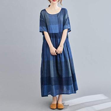 Vestido Adaskala feminino retrô xadrez de algodão e linho com decote em O, mangas compridas e folgadas.
