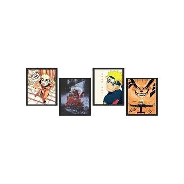 Kit 4 Quadros Decorativos Naruto - Com Vidro