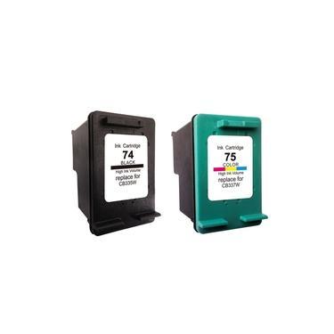 Kit Cartucho Compatível HP 74 Black 75 Color - HP C4480 C4280 C5580 C5280 J5780