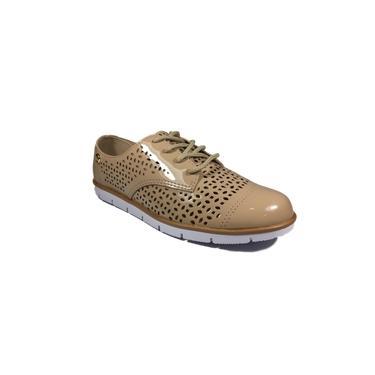 Sapato Oxford Moleca Feminino Bege Verniz Furadinho