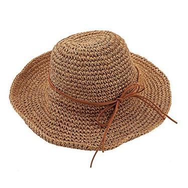 Chapéus femininos de aba larga dobráveis verão praia sol chapéu de palha (cáqui claro)