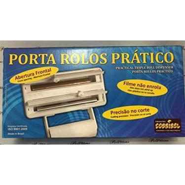 Porta Papel Alumínio Toalha Filme Suporte Rolo Cozinha 3 Em1