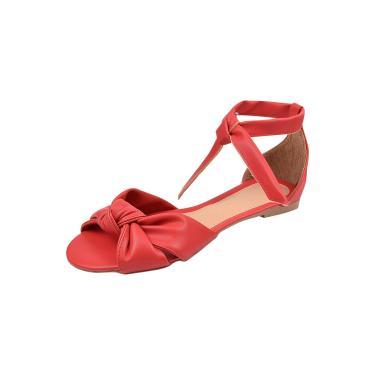 Imagem de Sandália Feminina Flatform Dunah Sapato Confort Vermelho  feminino