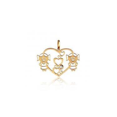 Pingente em Ouro 18k Duas Meninas Coração Vazado com Zircônia - Ouro  Amarelo Rosana joias d53836e17f