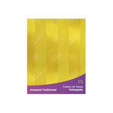Imagem de Toalha De Mesa Retangular Em Tecido Jacquard Amarelo Ouro Listrado Tradicional