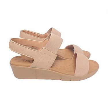 Sandália com Velcro Malu Super Comfort Maria Feminino Nude 35