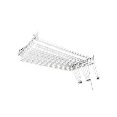 Varal de teto ou parede Prático de alumínio medida 1,50 Metros com 12 Varetas Individuais - Varal 10 Varetas + Extensor 2 varetas