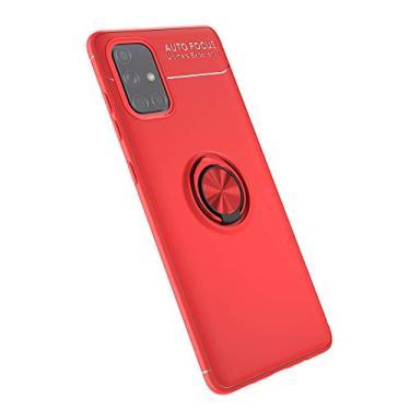 Cellular Capa para Samsung Galaxy A71(5G)/A Quantum Capa Case Anel Suporte Magnético Protetor de Suporte TPU + ABS Silicone Capa Anti-queda Atualização função de suporte Caso Cell Case:Vermelho