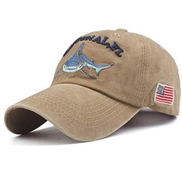 Boné de beisebol Masculino chapéus Tubarão Bordado xthree (Caqui)
