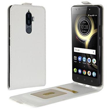 Zl One Compatível com/Substituição para Capa de telefone Lenovo K8 Note Couro Poliuretano Proteção Cartão Compartimentos Capa carteira Capa flip (Branco)