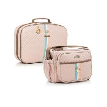 c492cc3bc Bolsa maternidade Monarchy rosa kit 02 peças frasqueira+mala - Lequiqui